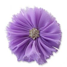 8cm Frayed Diamante LIGHT PURPLE Fabric Flower Applique